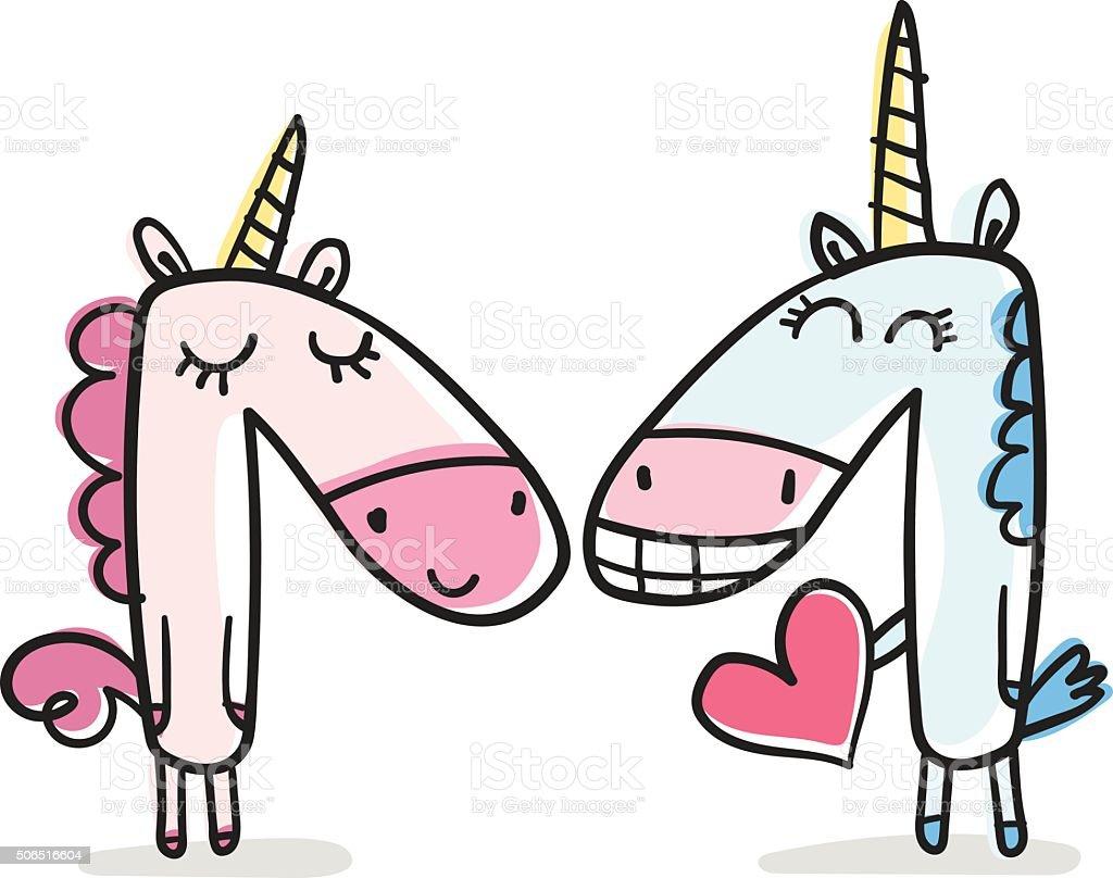 Unicorns vector art illustration