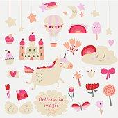 Vector set of cute little unicorn, rainbow, stars, flowers, castle, ice-cream, magic wand, diamond, butterfly, cupcake, wings in cartoon style