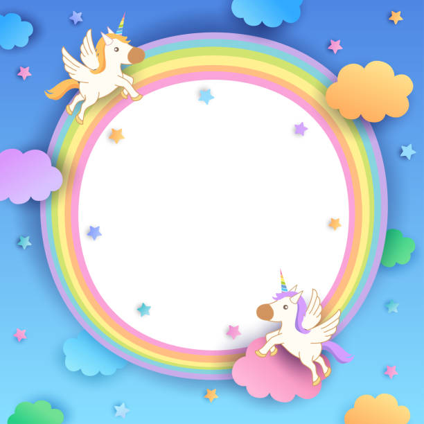 unicorns-rainbow-frame Illustration vector of unicorns decorated rainbow frame. bedroom borders stock illustrations