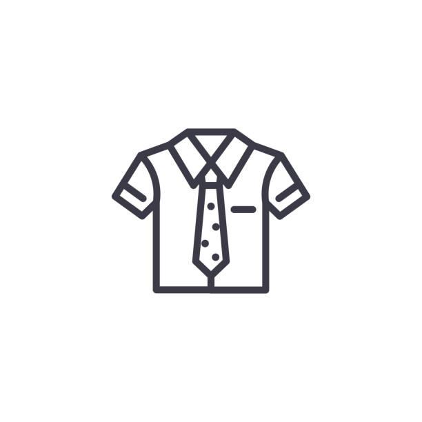 stockillustraties, clipart, cartoons en iconen met uniforme lineaire pictogram concept. uniforme lijn vector teken, symbool, afbeelding. - schooluniform