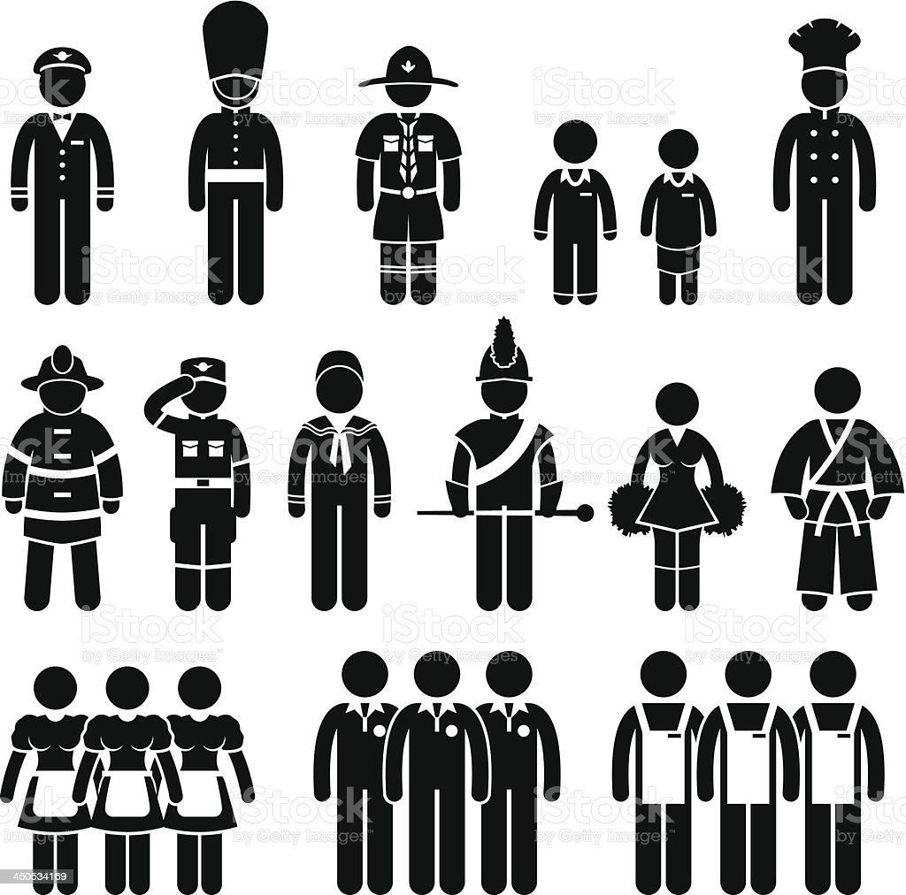 Uniform Outfit Clothing Wear Job Dress Code Pictogram royalty-free stock vector art