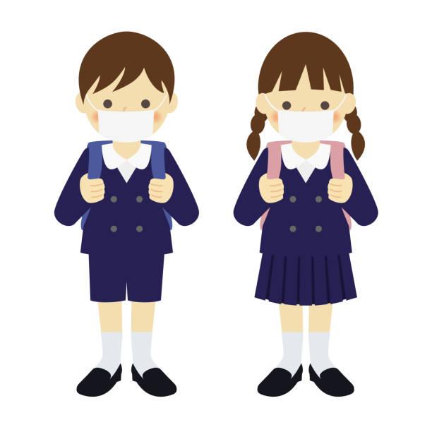 illustrazioni stock, clip art, cartoni animati e icone di tendenza di uniformed elementary boy and girl, wearing mask - two students together asian