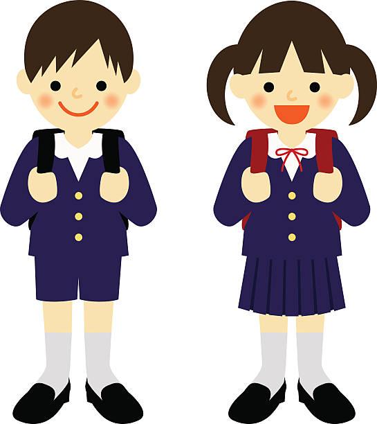 Japanese Boy Wearing School Uniform Cartoon Illustrations ...
