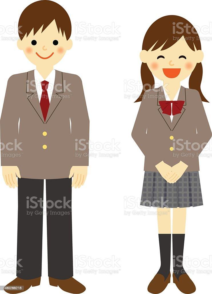 Uniformed school boy and school girl vector art illustration