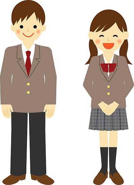 illustrazioni stock, clip art, cartoni animati e icone di tendenza di gli incaricati dello uniformed scuola ragazzo e ragazza di scuola - two students together asian