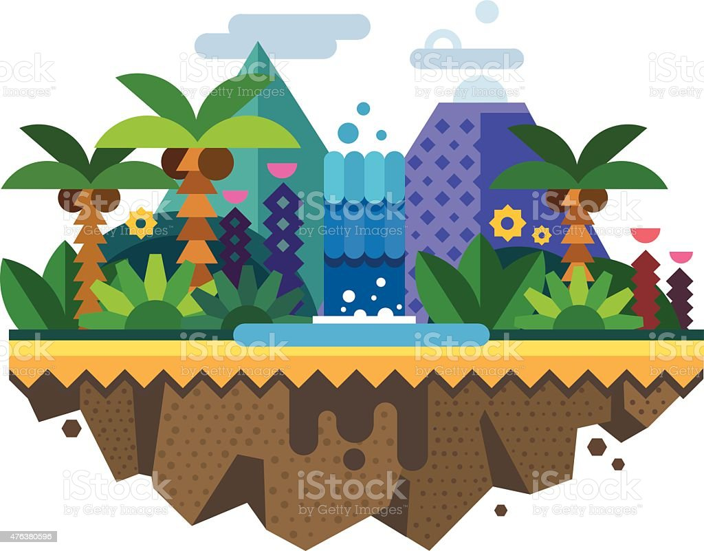 Uninhabited island, jungle vector art illustration