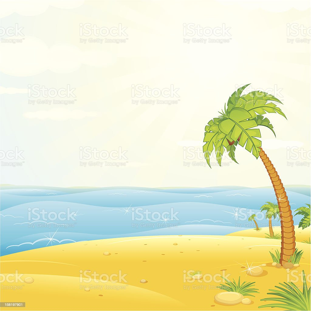 Uninhabited Tropical Island. Vector Illustration royalty-free stock vector art