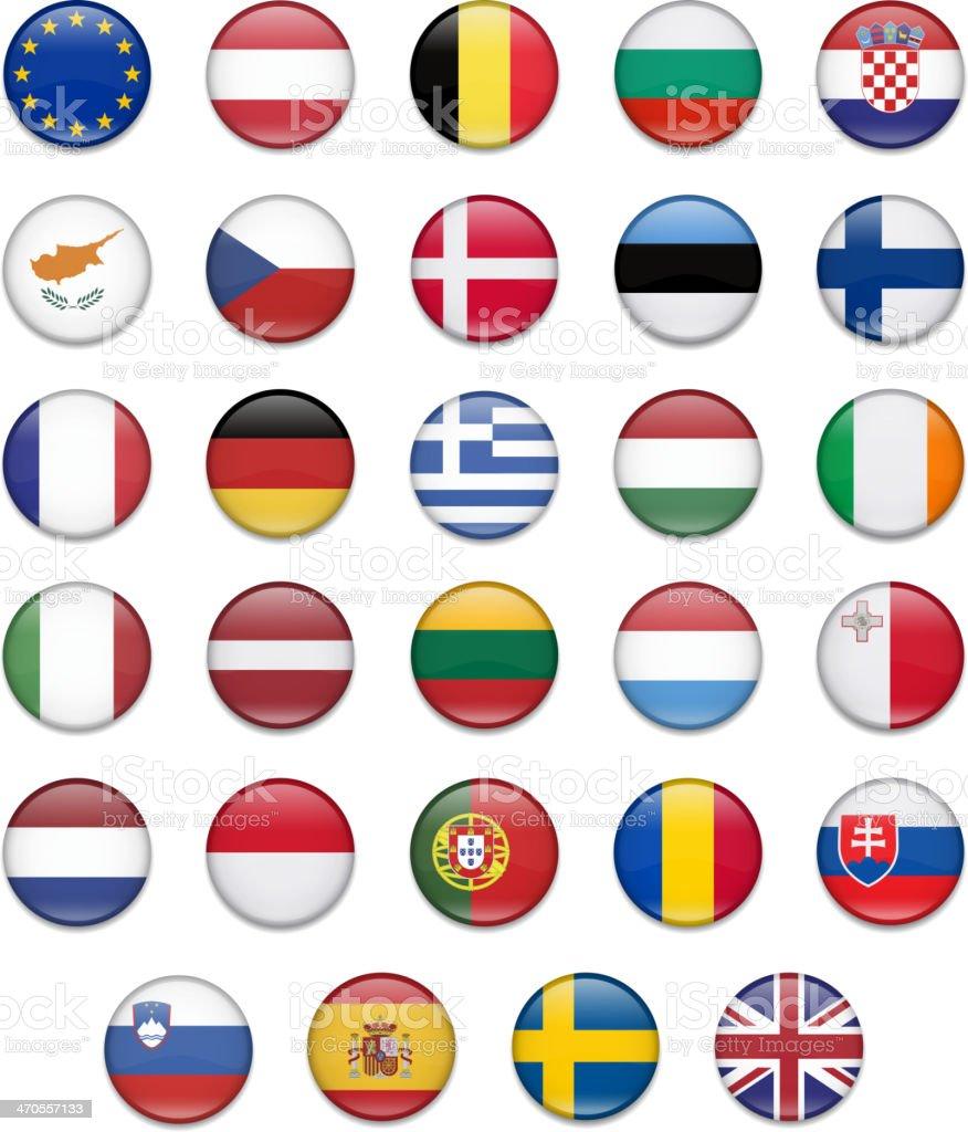 EU Union Button Flag Collection-Complete vector art illustration