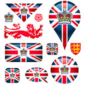 Union jack flag and British crown icons