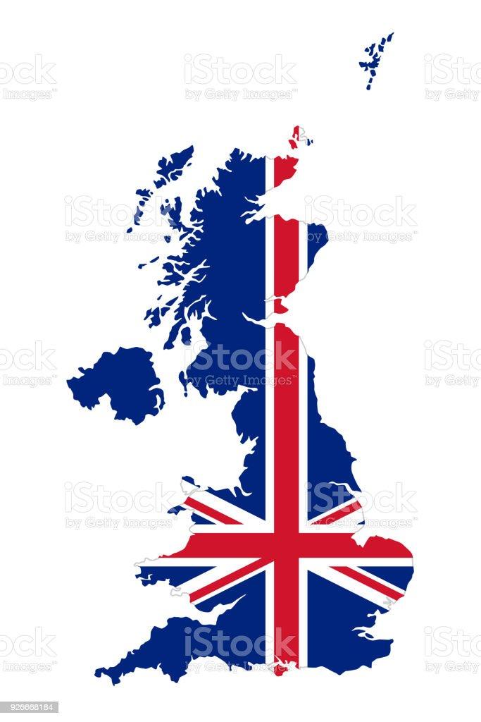 Union Jack in the outline of United Kingdom vector art illustration