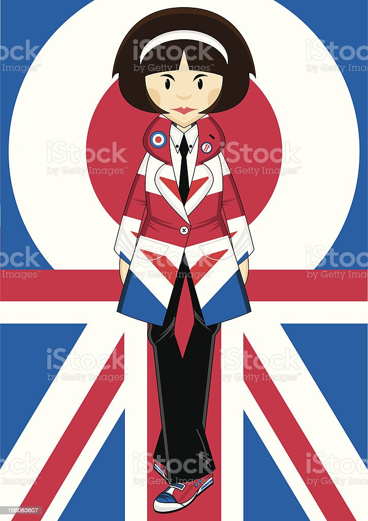 Union Jack Jacket Mod Girl royalty-free stock vector art