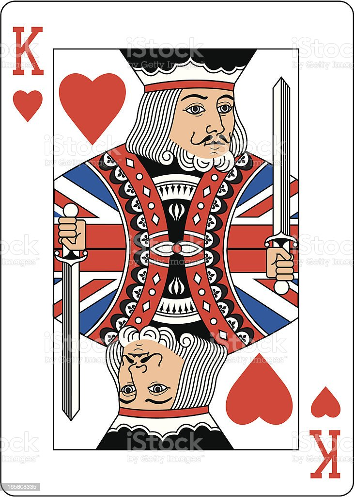 Union jack King of Hearts Two royalty-free stock vector art