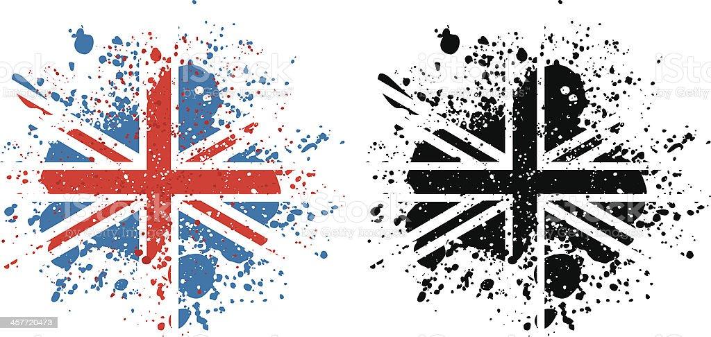 Union Jack paint splattered flag