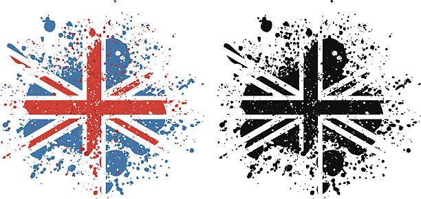 union jack paint splattered flag - union jack flag stock illustrations, clip art, cartoons, & icons
