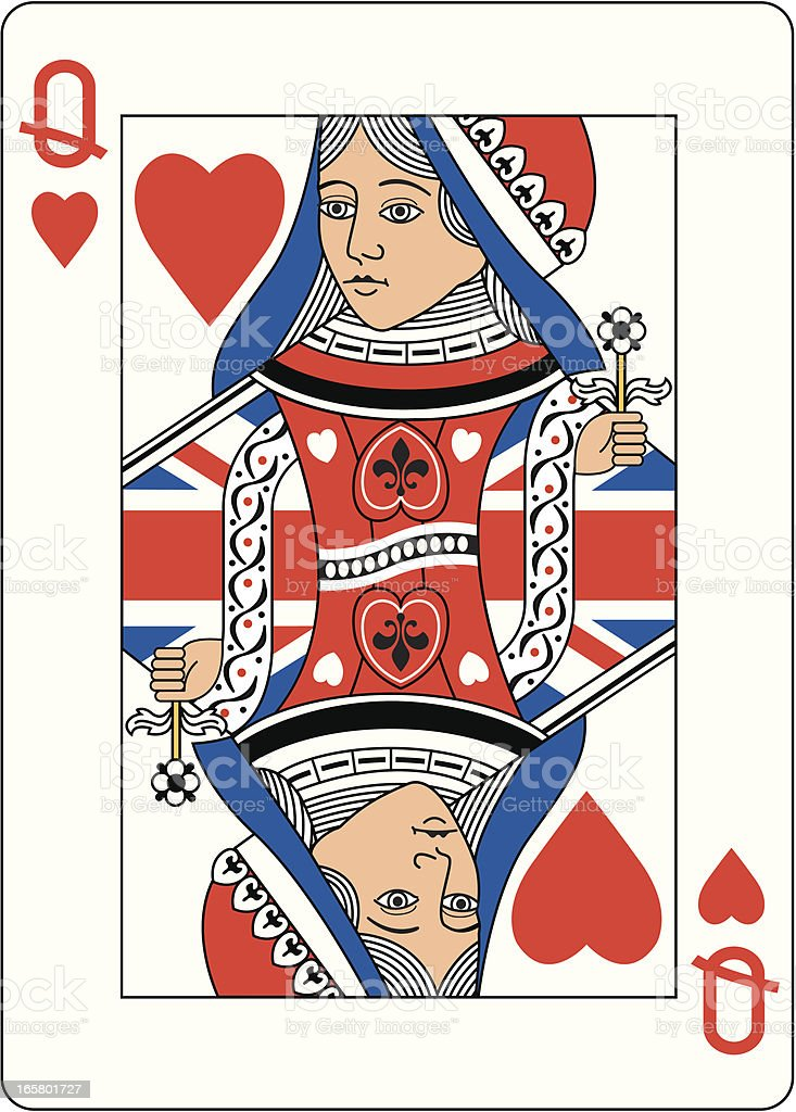 Union jack Queen of Hearts Two vector art illustration