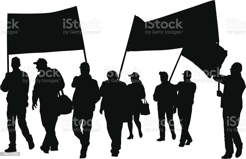 Union people Vector drawing crowds with banners and flags Activity stock vector