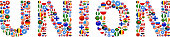 Union World Flags Vector Buttons. The word is composed of various flag buttons. It represents globalization and cooperation between nations. The flag buttons fill in the letters and form a seamless pattern. Flags include United States, Great Britain, Germany, Canada, European Union, Russia, Switzerland, Israel, China and many more.