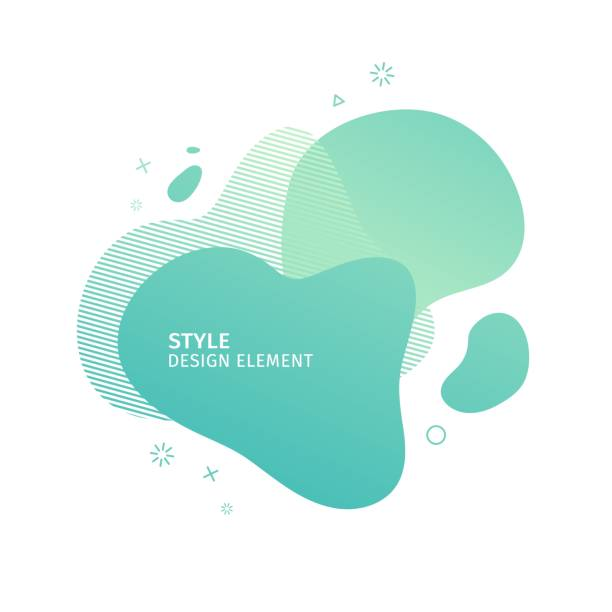 unique abstract graphic elements. eco banner with a gradient shape. design template for presentation or flyer. abstract forms green dynamic composition. minimal mesh background. modern style vector. - color image stock illustrations