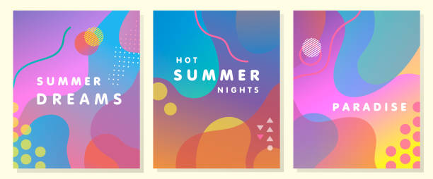 unique artistic summer cards - summer background stock illustrations
