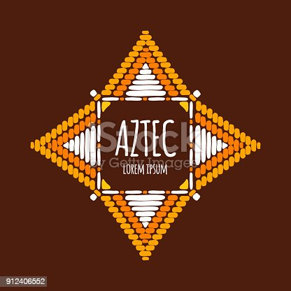 Unique Aztec Emblem Template Vector Tribal Hand Drawn Design For ...