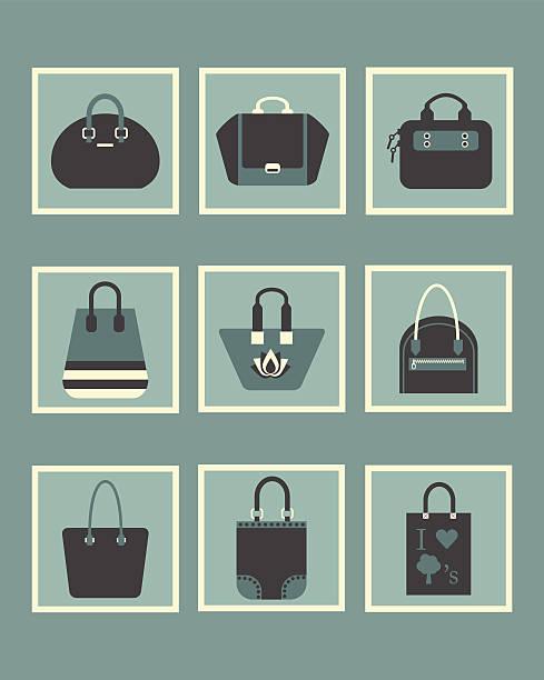 einzigartigen blauen modische damen handtasche symbole - laptoptaschen stock-grafiken, -clipart, -cartoons und -symbole