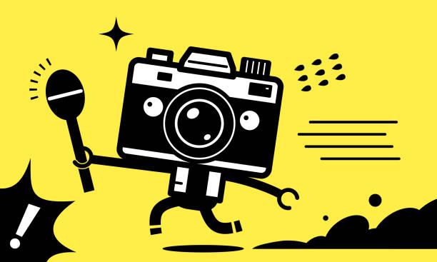illustrations, cliparts, dessins animés et icônes de personnage unique d'homme de caméra (journaliste, youtuber) retenant un microphone et courant pour interviewer - interview