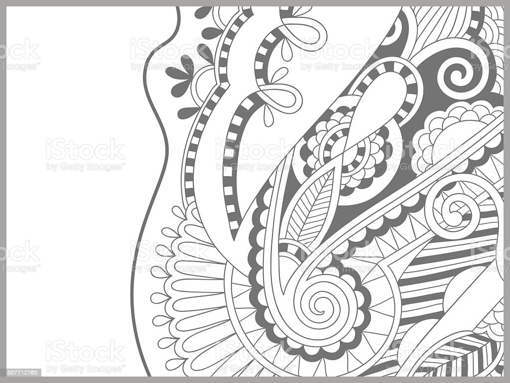 Unique Coloring Book Page For Adults Flower Paisley Design Stock ...