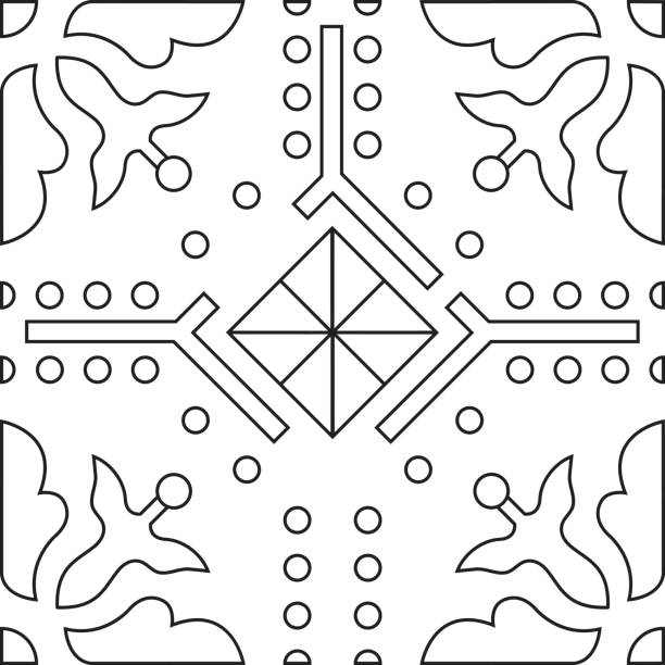 Unique Coloring Book Square Page For Adults Seamless Pattern Tile Design Joy To Older Children And Adult Colorists Who Like Line Art Creation Vector