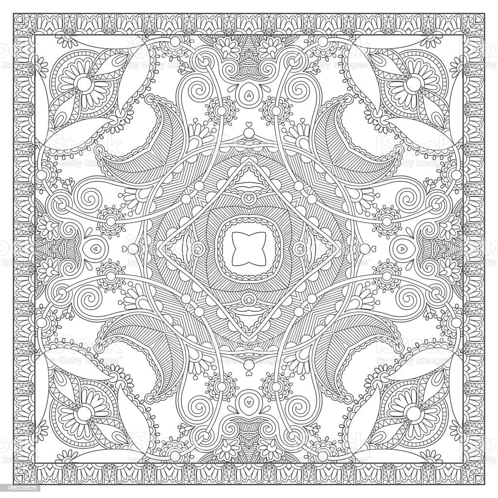 Unique Coloring Book Square Page For Adults Royalty Free