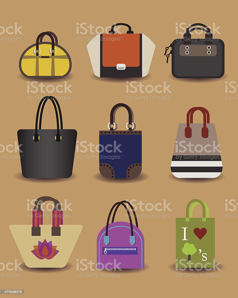 Unique fashionable women purse and bag icons vector art illustration