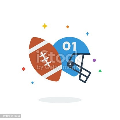 istock Unique flying Rugby Football Helmet flat badge icon vector for website 1208031434