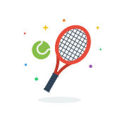 istock Unique flying Tennis Racket Softball Ball flat badge icon vector for website 1208031424