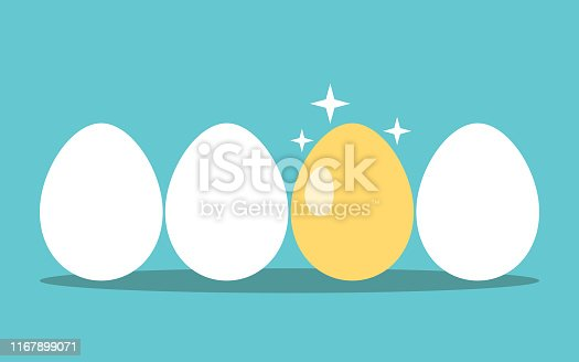 Unique gold egg in row of white ones on turquoise blue background. Opportunity, profit, investment, luck and success concept. Flat design. EPS 8 vector illustration, no transparency, no gradients