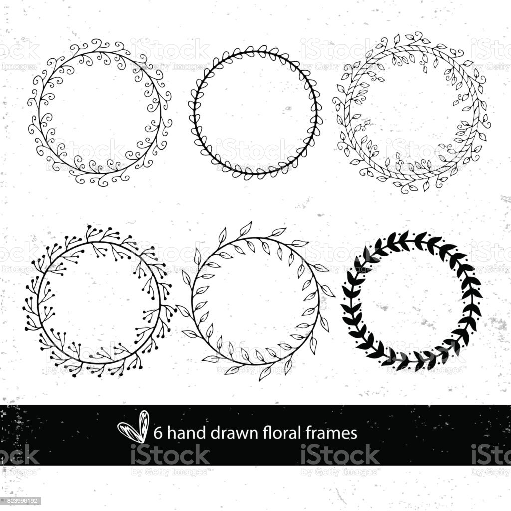 Unique Hand Drawn Round Frames Wedding Decor Elements In Boho Style ...