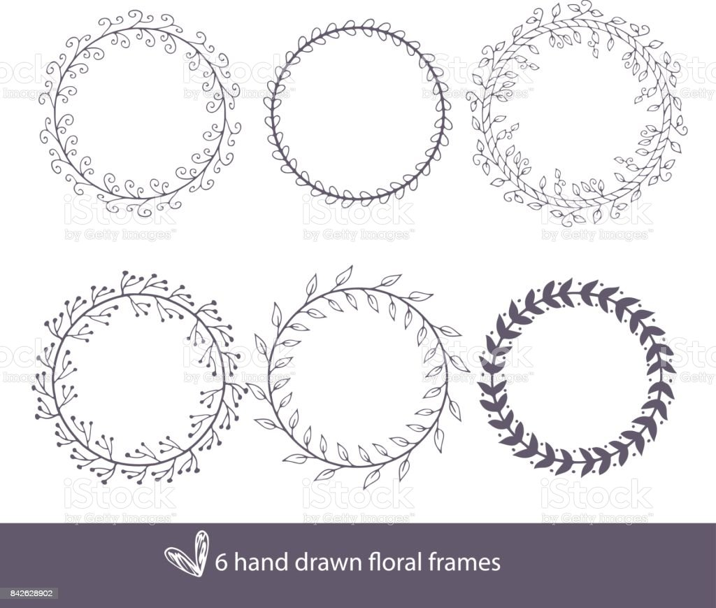 Unique Hand Drawn Round Frames Wedding Decor Elements In Boho Style ...