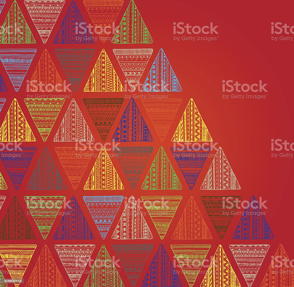 Unique hand drawn triangle pattern. vector art illustration
