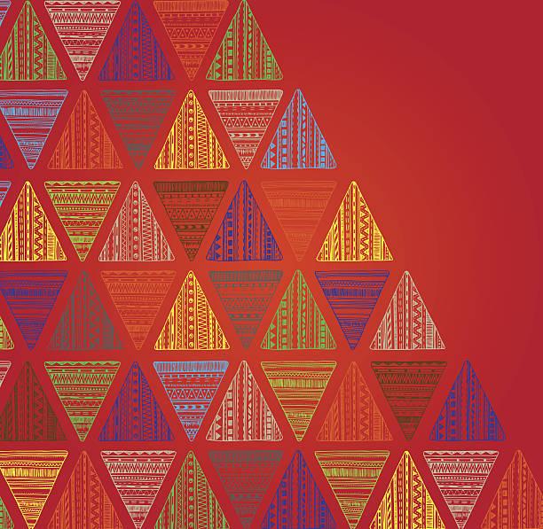 einzigartiges, von hand drawn dreieck muster. - stoffmalerei stock-grafiken, -clipart, -cartoons und -symbole