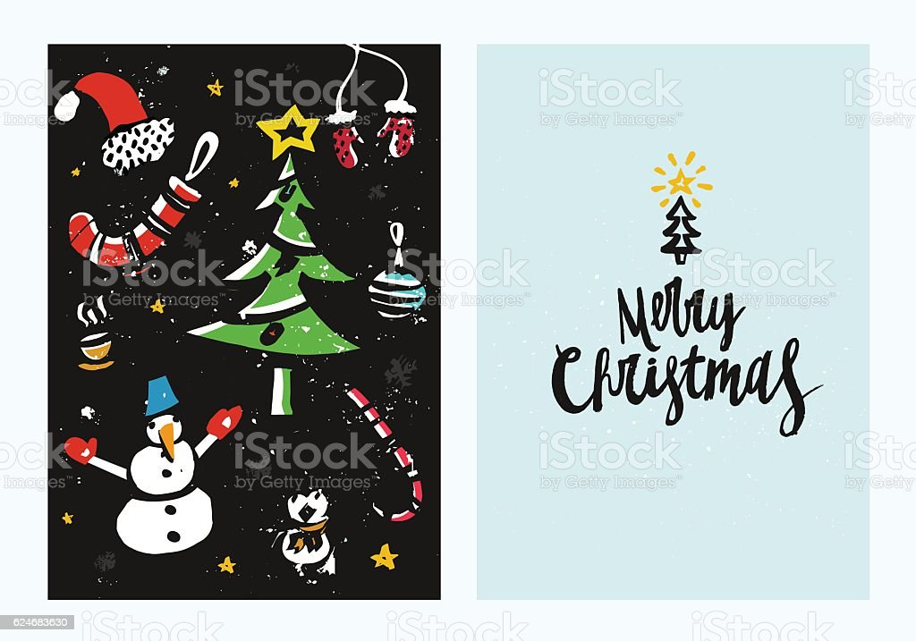 Unique Handdrawn Christmas Card Template With Brush Drawings And ...