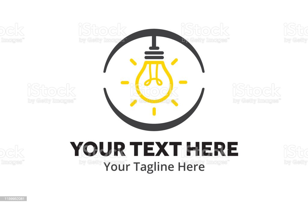 unique lightbulb idea simple logo creative design in flat style with...