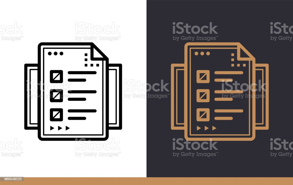 Unique linear icon of Online test. Online education, e-learning. Modern outline icons for mobile application royalty-free unique linear icon of online test online education elearning modern outline icons for mobile application stock illustration - download image now