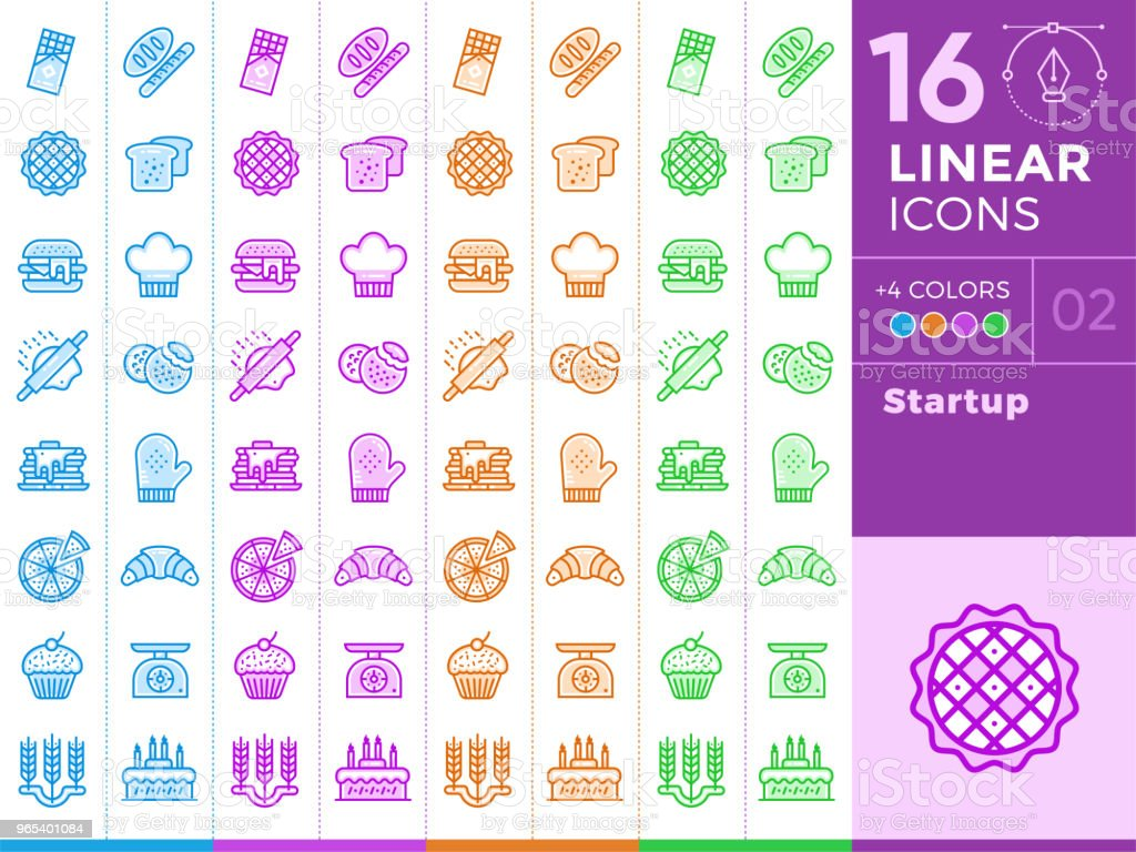 Unique linear icons, bakery and cooking. With different color for banners and other types royalty-free unique linear icons bakery and cooking with different color for banners and other types stock vector art & more images of apple pie