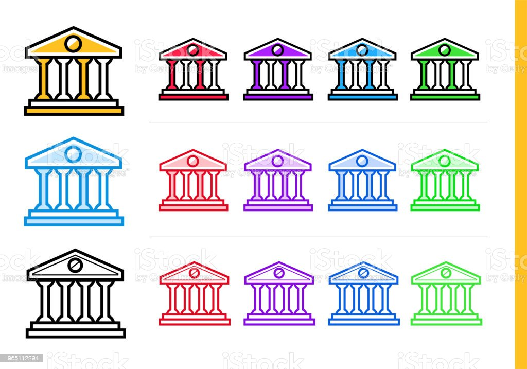 Unique linear icons BANK BUILDING of finance, banking. Modern outline icons for mobile application royalty-free unique linear icons bank building of finance banking modern outline icons for mobile application stock vector art & more images of banking