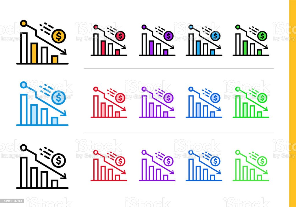 Unique linear icons DECLINE of finance, banking. Modern outline icons for mobile application royalty-free unique linear icons decline of finance banking modern outline icons for mobile application stock vector art & more images of banking