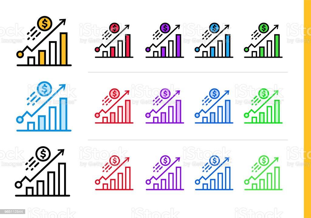 Unique linear icons GROWTH of finance, banking. Modern outline icons for mobile application unique linear icons growth of finance banking modern outline icons for mobile application - stockowe grafiki wektorowe i więcej obrazów bankowość royalty-free