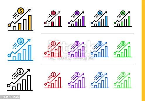 Unique Linear Icons Growth Of Finance Banking Modern Outline Icons For Mobile Application - Stockowe grafiki wektorowe i więcej obrazów Bankowość 965112544