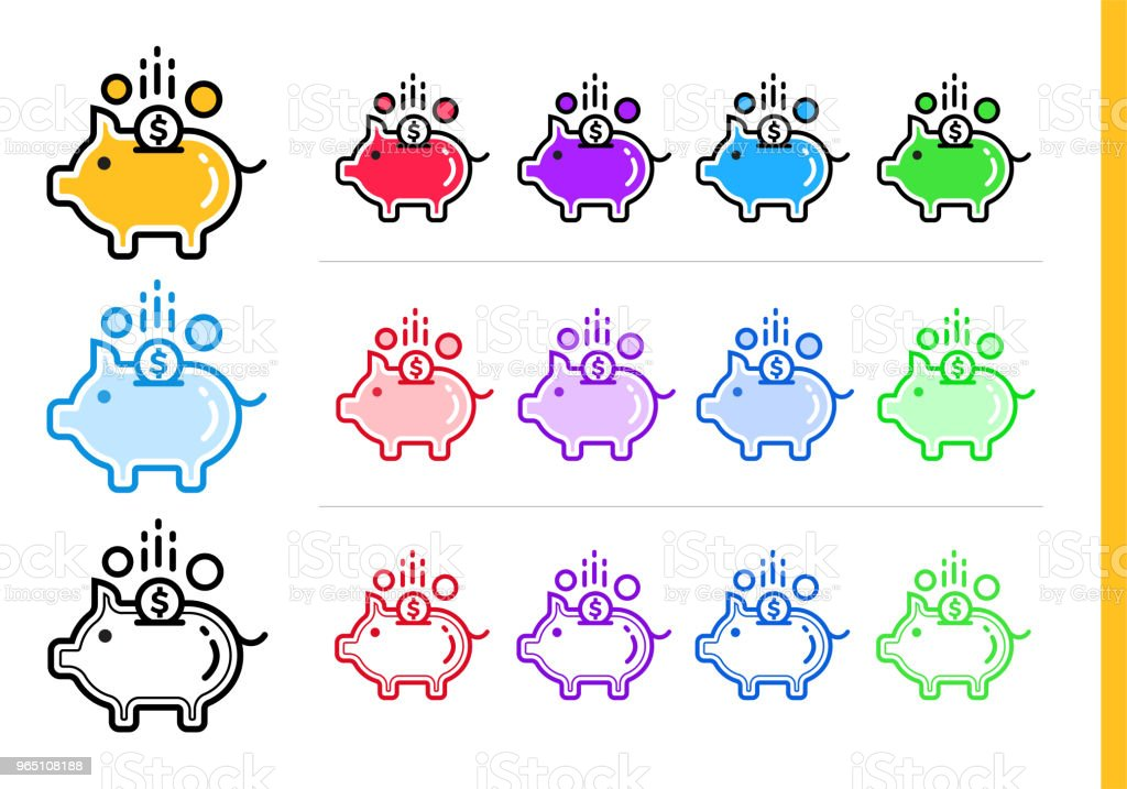 Unique linear icons PIGGY BANK of finance, banking. Modern outline icons for mobile application royalty-free unique linear icons piggy bank of finance banking modern outline icons for mobile application stock vector art & more images of banking