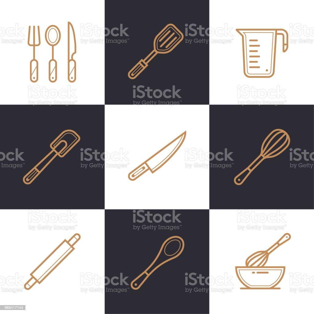 빵집, 독특한 선형 아이콘 세트 요리. 높은 품질의 현대 아이콘 정보 그래픽, 인쇄 매체 및 인터페이스에 적합 - 로열티 프리 0명 벡터 아트