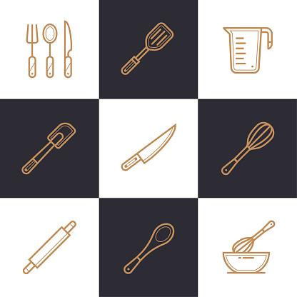 빵집 독특한 선형 아이콘 세트 요리 높은 품질의 현대 아이콘 정보 그래픽 인쇄 매체 및 인터페이스에 적합 0명에 대한 스톡 벡터 아트 및 기타 이미지