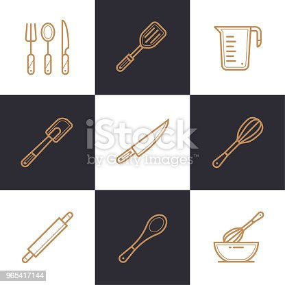 Unique Linear Icons Set Of Bakery Cooking High Quality Modern Icons Suitable For Info Graphics Print Media And Interfaces Stock Vector Art & More Images of Bakery 965417144