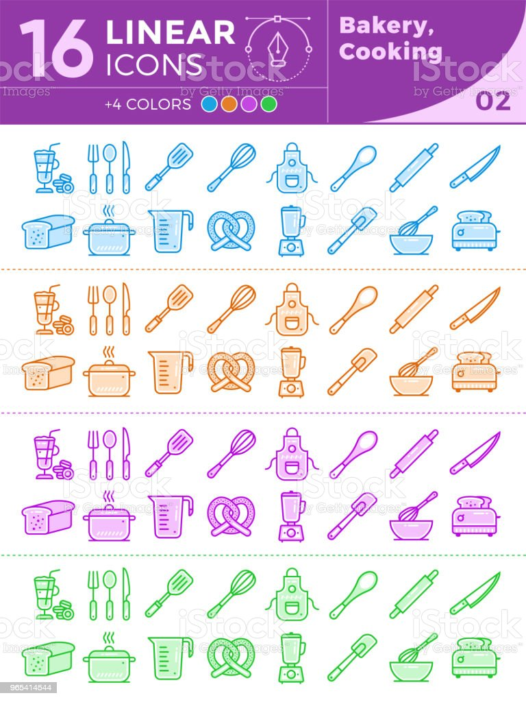 Unique linear icons set of bakery, cooking. With different colors suitable for banners and other types royalty-free unique linear icons set of bakery cooking with different colors suitable for banners and other types stock vector art & more images of bakery